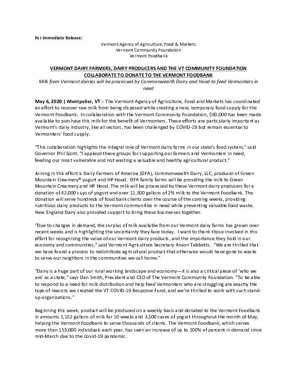 Vermont Dairy Donation Press Release.pdf