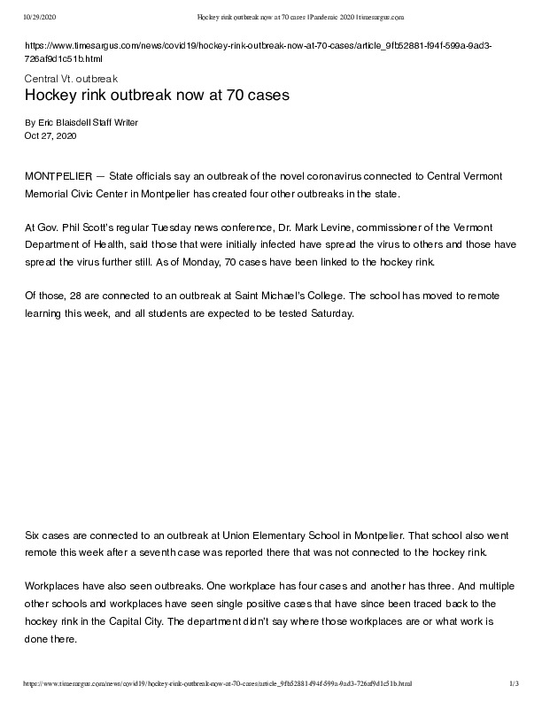 Hockey rink outbreak now at 70 cases _ Pandemic 2020 _ timesargus.com.pdf